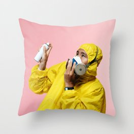Spray and Stay Away Throw Pillow