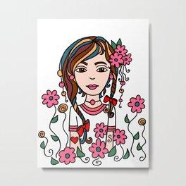 Style Girl - Jazz - Doodle Art Metal Print
