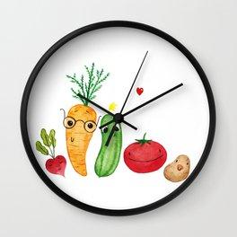 Vegetables family. Reddish, carrot, cucumber, tomato and potato. Watercolour illustration. Wall Clock