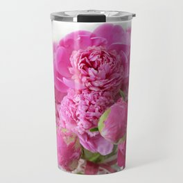 Pink Peonies Romantic Floral Bouquet Travel Mug
