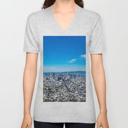 Panoramic shot of San Francisco Business District from Twin Peaks, California USA Unisex V-Neck