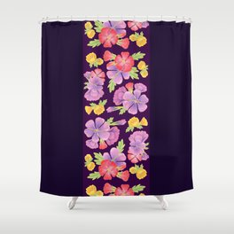 Floral Pattern On Purple Shower Curtain