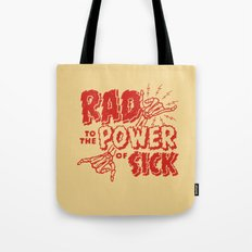 Rad to the Power of Sick - Red Print Tote Bag