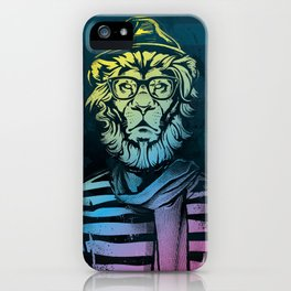 Hipster Lion Black and White iPhone Case
