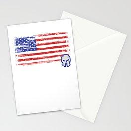 USA American Flag Spartan Helmet Patriotic Stationery Cards