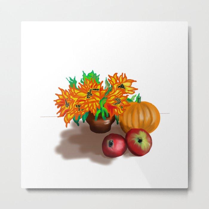 pumpkin sunflowers and apples Metal Print