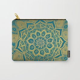Gold Mandala tropique on Peacock blue Carry-All Pouch