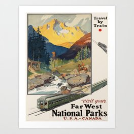Vintage poster - National parks Art Print