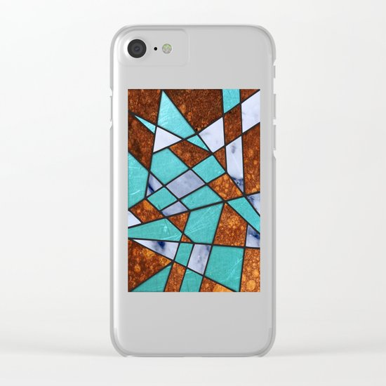#477 Marble Shards & Copper Clear iPhone Case
