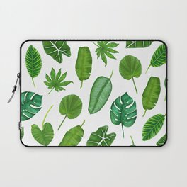 Tropical Palm Monstera Leaves Watercolor Pattern | Jungle Leaves | Tropical design Laptop Sleeve