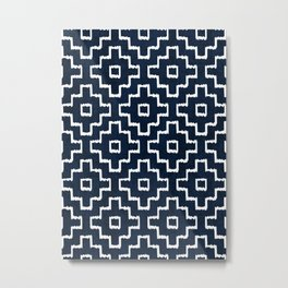 Blue Geometric Pattern Metal Print