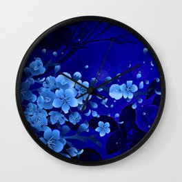 Cherry blossom, blue colors Wall Clock
