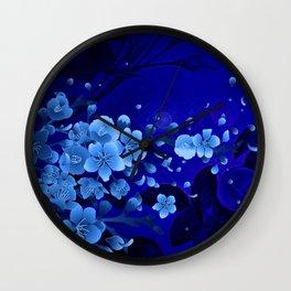 Cherry blossom, blue colors Wall Clock