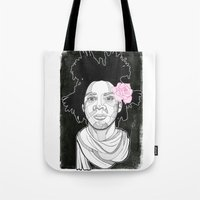basquiat Tote Bags featuring Basquiat by DonCarlos
