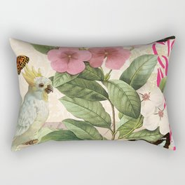 A macaw with flowers and butterflies Rectangular Pillow