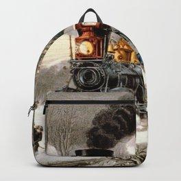 Snow Bound: Vintage Currier & Ives Railroad Scene Backpack