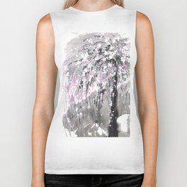 Sumie No.19 Weeping Cherry Blossoms Biker Tank