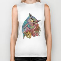 gemma Biker Tanks featuring Zombie Owl by Gemma Pallat by ToraSumi