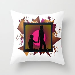 Messy family Throw Pillow