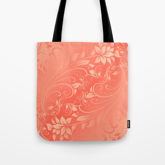 Coral Swirls leaves Tote Bag