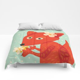 Cute Fox And Flowers Comforters