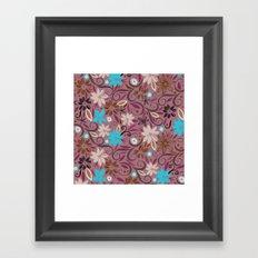 Floral_wallpaper | purple, cyan, orange, plum pink Framed Art Print