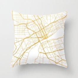 DETROIT MICHIGAN CITY STREET MAP ART Throw Pillow