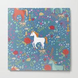 Colorful Unicorn Pattern Metal Print