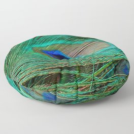 Peacock Feather Macro Design Floor Pillow
