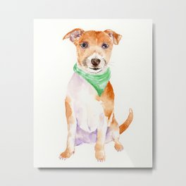 Watercolor Dog Portrait Jack Russell Terrier Metal Print