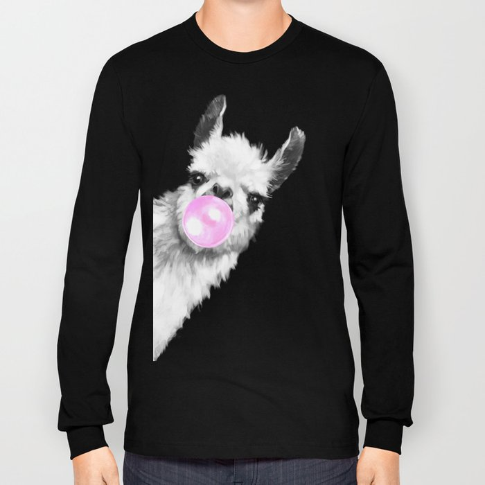 Bubble Gum Sneaky Llama Black and White Long Sleeve T-shirt