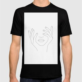 Minimal Line Art Woman with Hands on Face T-shirt