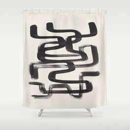 Mid Century Modern Minimalist Abstract Art Brush Strokes Black & White Ink Art Pipe Maze Shower Curtain