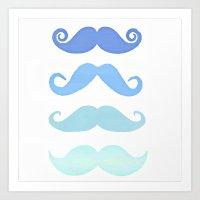 moustache Art Prints featuring Moustache by Amy Copp