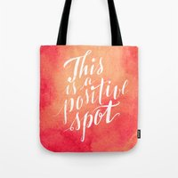 positive Tote Bags featuring Positive by Raluca Ag