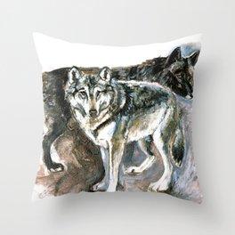 Totem Timber wolf Throw Pillow