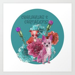 chihuahuas and carnations Art Print