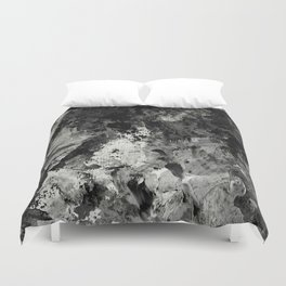 Impossibility - Textured, black and white abstract Duvet Cover