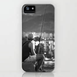 Fishing at seaside in Izmir (Turkey) - black and white iPhone Case