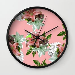 LILY PINK AND WHITE FLOWER Wall Clock