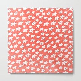 Stars Living Coral Metal Print