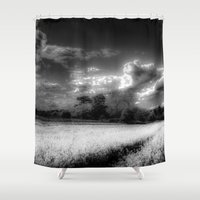 farm Shower Curtains featuring Monochrome Farm by David Pyatt
