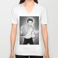 30 seconds to mars V-neck T-shirts featuring Jared Leto (30 Seconds To Mars) Portrait. by Carl Merrell Art