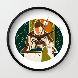 Seamstress Dressmaker Sewing Oval Retro Wall Clock