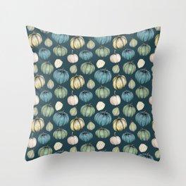 Blue pumpkin pattern Throw Pillow