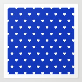 HEARTS ((white on azure)) Art Print