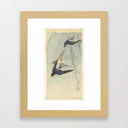 Three birds in full flight - Ohara Koson (1887 - 1945) Framed Art Print