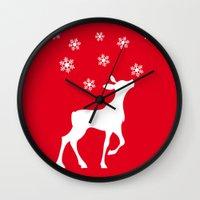 fawn Wall Clocks featuring fawn by Li-Bro