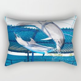 Dolphins jumping out of water on show Rectangular Pillow