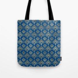 Elegant Blue and Gold Damask Pattern Tote Bag